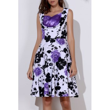 Floral Print Sweetheart Neck Sleeveless Ball Gown Dress For Women - PURPLE L