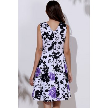Floral Print Sweetheart Neck Sleeveless Ball Gown Dress For Women - L L