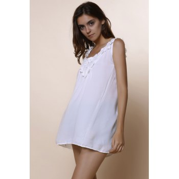 Romantic White Lace Spliced Scoop Neck Tank Top For Women - L L