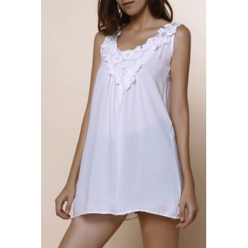 Romantic White Lace Spliced Scoop Neck Tank Top For Women - WHITE L