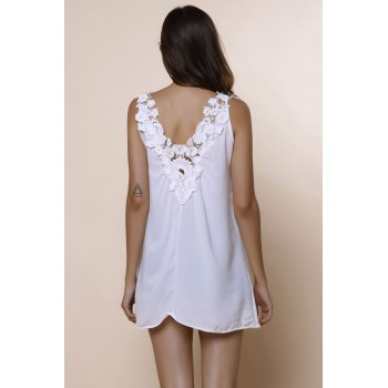 Romantic White Lace Spliced Scoop Neck Tank Top For Women - WHITE WHITE