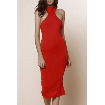 Elegant Turtle Neck Solid Color Hollow Out Sleeveless Women's Bodycon Dress