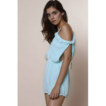 Sexy Spaghetti Strap Solid Color Hollow Out Short Sleeve Women's Chiffon Romper - MINT GREEN MINT GREEN
