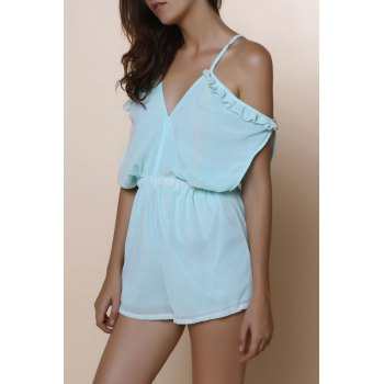 Sexy Spaghetti Strap Solid Color Hollow Out Short Sleeve Women's Chiffon Romper - MINT GREEN L