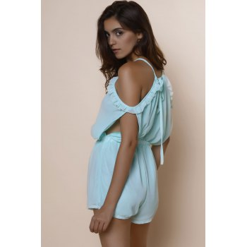Sexy Spaghetti Strap Solid Color Hollow Out Short Sleeve Women's Chiffon Romper - L L