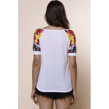 Stylish Scoop Collar Short Sleeve Letter Printed Spliced Women's T-Shirt - L L