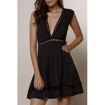 Sexy Sleeveless Plunging Neck Black Low-Cut Hollow Out Women's Dress