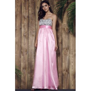 Elegant Sleeveless Strapless Spliced Sequins Embellished Women's Prom Dress