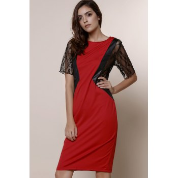 Stylish Round Neck Short Sleeve Plus Size Lace Spliced Women's Dress - RED 3XL