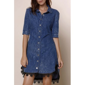 Sexy Half Sleeve Asymmetrical Laciness Women's Denim Dress