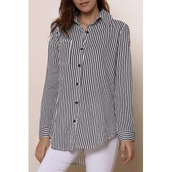 Long Sleeve Button Up Striped Shirt