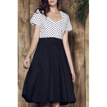 Graceful Short Sleeve Sweetheart Neck Polka Dot Women's Dress