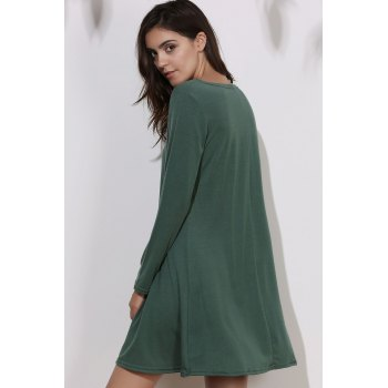 Simple Long Sleeve Round Collar Pure Color Women's Dress - GREEN ONE SIZE(FIT SIZE XS TO M)