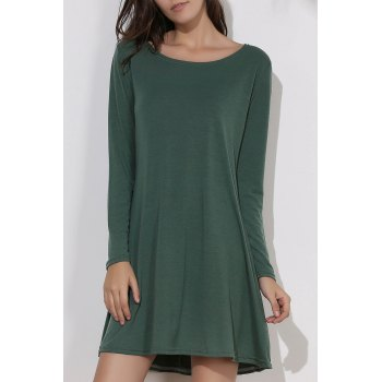 Simple Long Sleeve Round Collar Pure Color Women's Dress