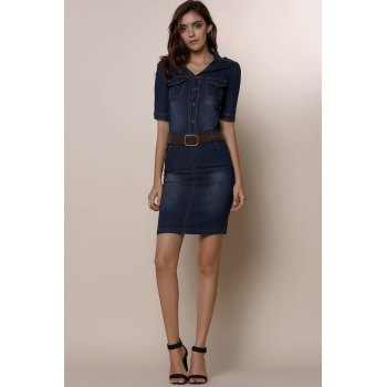 1/2 Sleeve Belted Bleach Wash Single Breasted Denim Dress For Women - S S