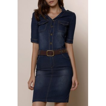 1/2 Sleeve Belted Bleach Wash Single Breasted Denim Dress For Women - DEEP BLUE XL