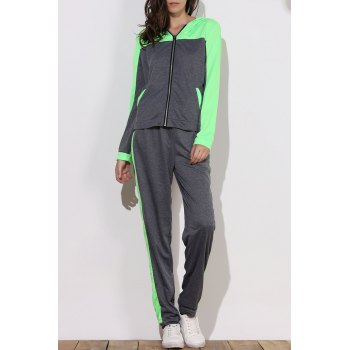 Active Hooded Zippered Color Block Long Sleeve Hoodie and Pants Twinset For Women