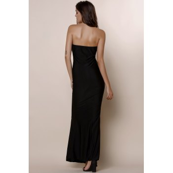 Noble Strapless Solid Color Bodycon Maxi Fishtail Dress For Women - M M
