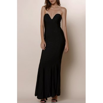 Noble Strapless Solid Color Bodycon Maxi Fishtail Dress For Women - BLACK M