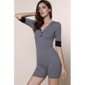 V-Neck Short Sleeve Striped Romper For Women - STRIPE S