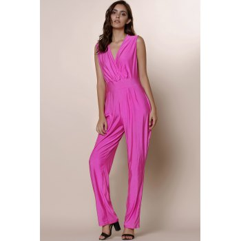 Attractive Solid Color Plunging Neck Sleeveless Plus Size Jumpsuit For Women