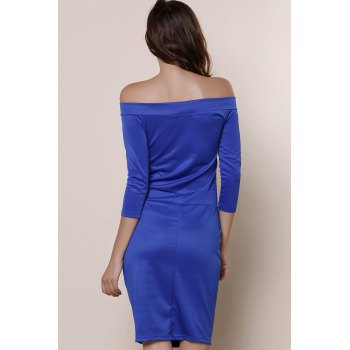 Brief Blue Off The Shoulder Long Sleeve Dress For Women - BLUE XL