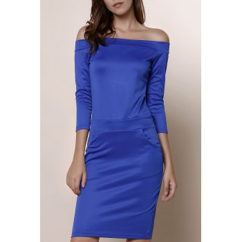 Off The Shoulder Blue Long Sleeve Dress For Women