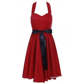 Vintage Style Halter Neck Sleeveless Polka Dot Self Tie Belt Backless Women's Dress