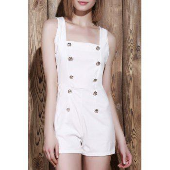 Sexy Square Neck Solid Color Button Embellished Sleeveless Women's Romper