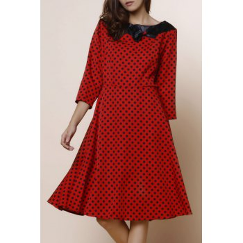 Vintage Polka Dot Print Slash Neck Bowknot Design 3/4 Sleeve Dress For Women - RED XL