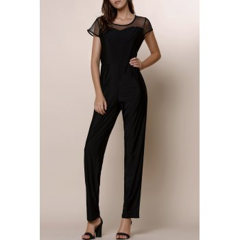 Stylish Gauze Spliced High Waist Bodycon Plus Size Jumpsuit For Women