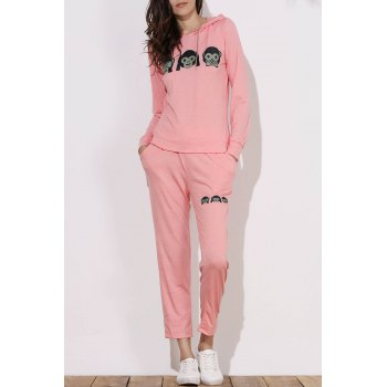 Active Emoji Printed Hooded Pullover Hoodie and Elastic Waist Pants Twinset For Women - PINK S