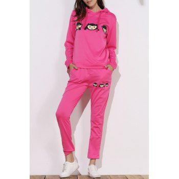 Active Emoji Printed Hooded Pullover Hoodie and Elastic Waist Pants Twinset For Women - ROSE XL