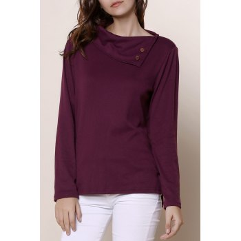 Simple Style Buttoned Cowl Neck Solid Color Long Sleeve T-Shirt For Women
