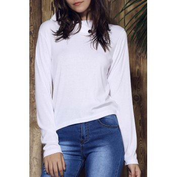 Solid Color Buttoned Cowl Neck Long Sleeve T Shirt