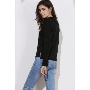Simple Style Buttoned Cowl Neck Solid Color Long Sleeve T-Shirt For Women - BLACK L