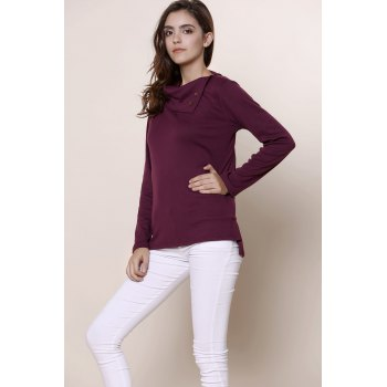 Simple Style Buttoned Cowl Neck Solid Color Long Sleeve T-Shirt For Women - PURPLE M