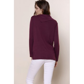Simple Style Buttoned Cowl Neck Solid Color Long Sleeve T-Shirt For Women - PURPLE L