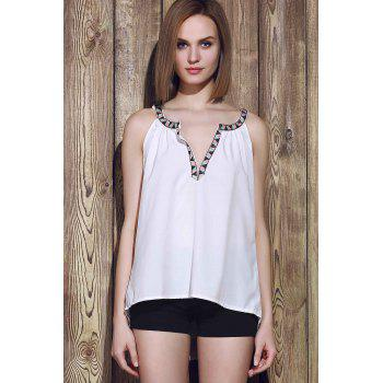 Sexy Sleeveless V-Neck Spliced Hollow Out Women's Tank Top - WHITE WHITE