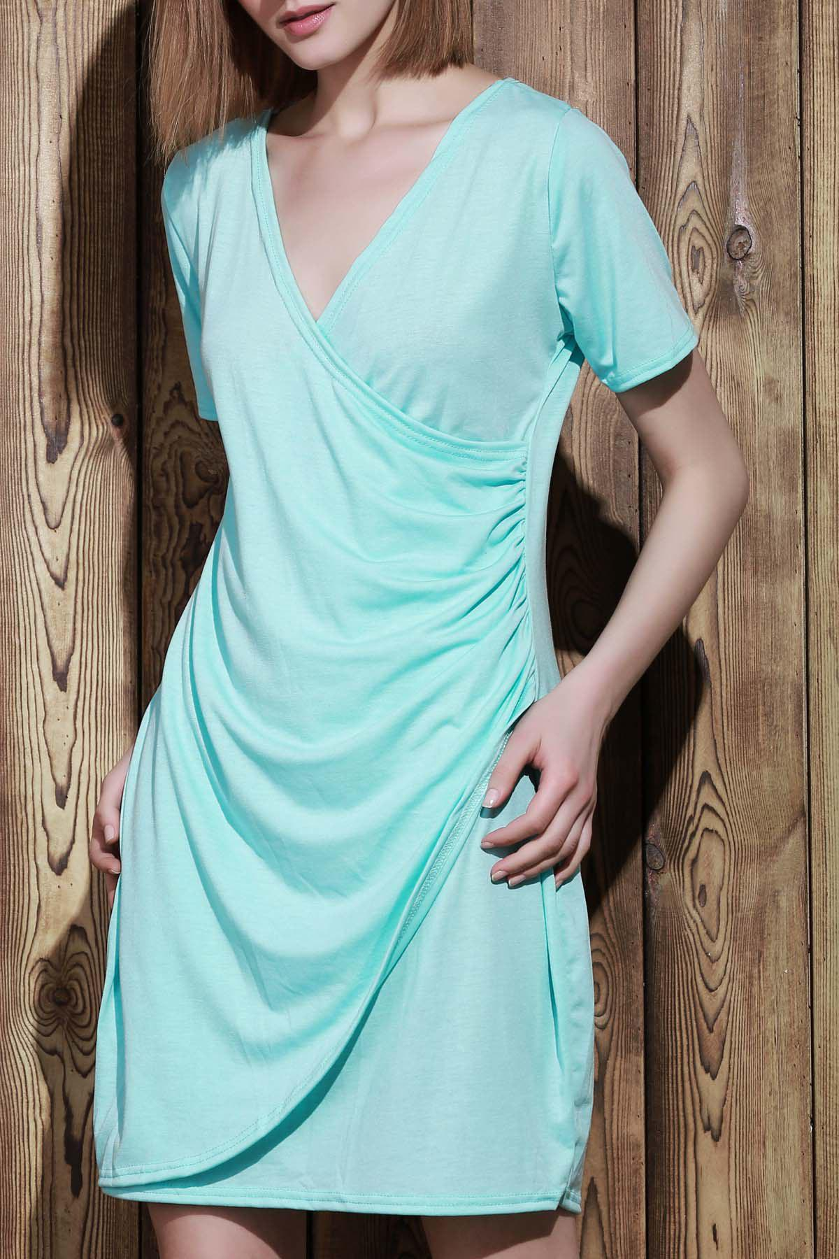 Sexy Plunging Neck Short Sleeve Plus Size Solid Color Women's Wrap Dress