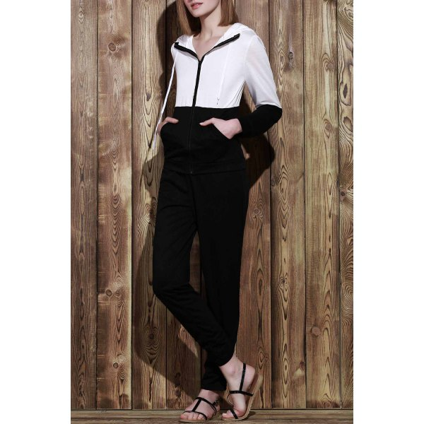 Trendy Hooded Color Block Zippered Jacket and Solid Color Pants Twinset For Women - BLACK S