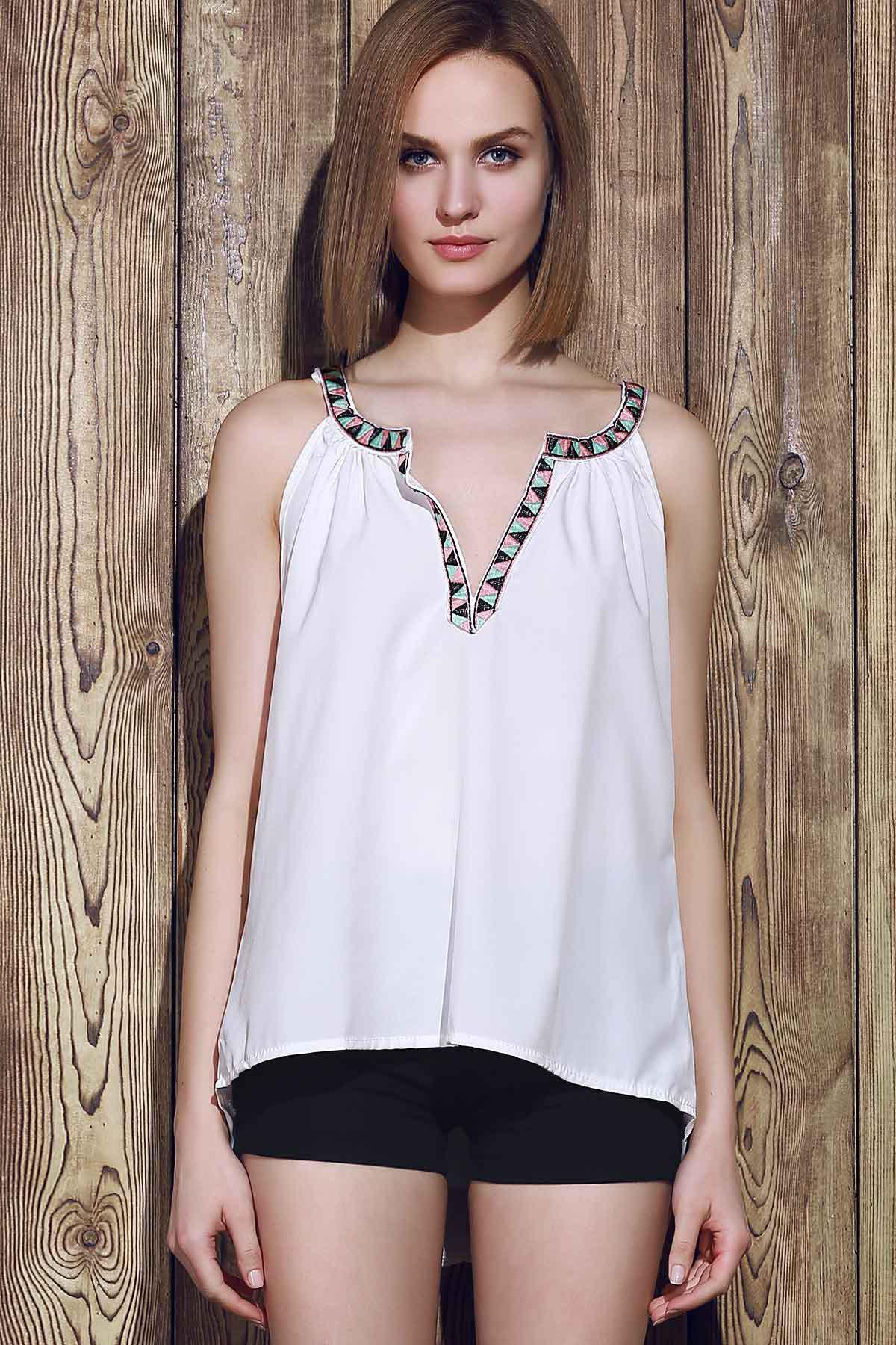 Sexy Sleeveless V-Neck Spliced Hollow Out Women's Tank Top - WHITE L