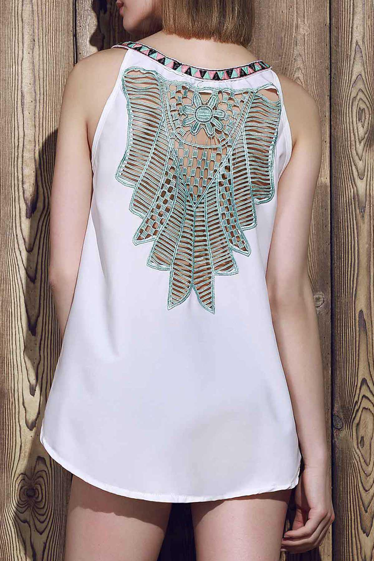 Sexy Sleeveless V-Neck Spliced Hollow Out Women's Tank Top - WHITE M