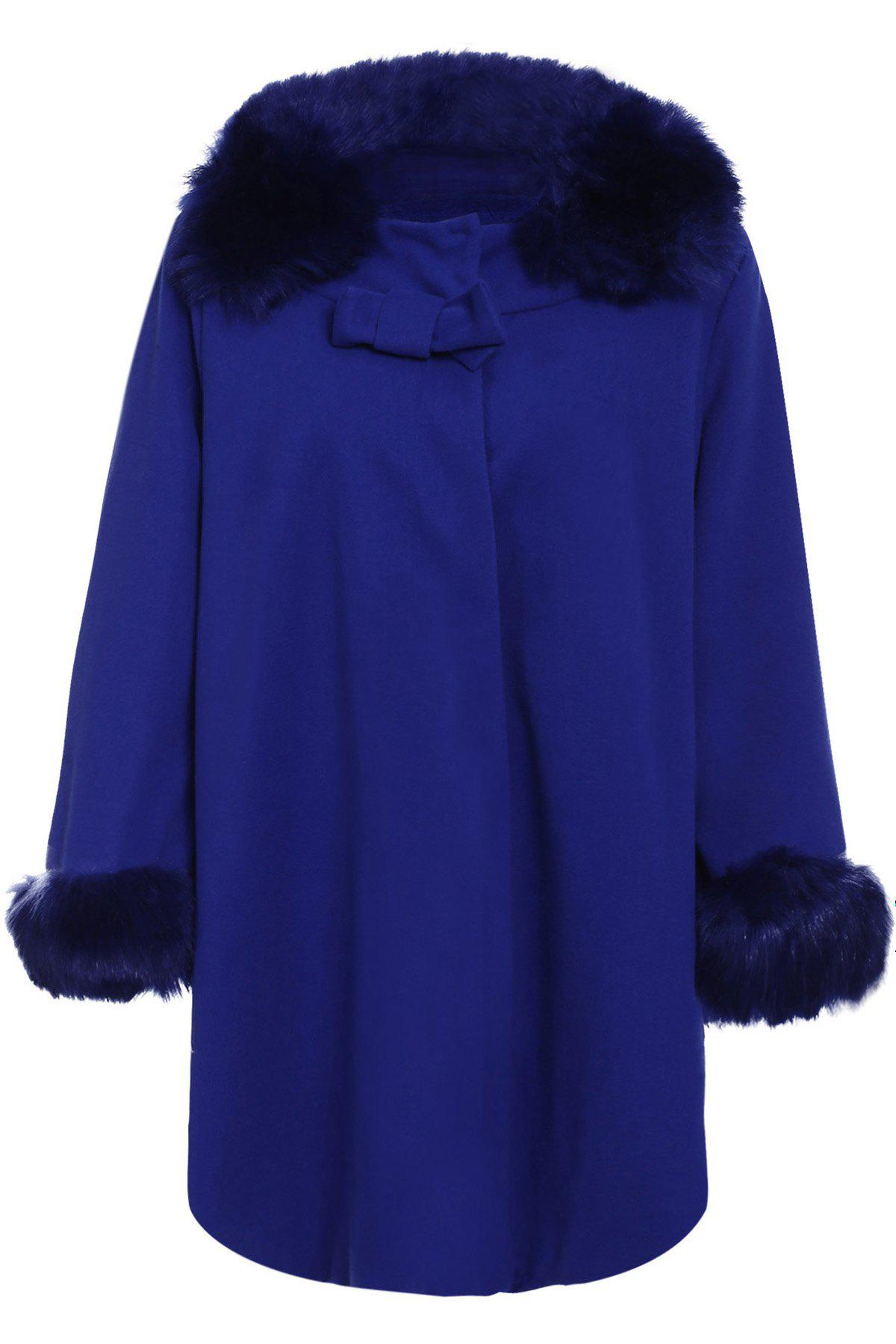 Chic 3/4 Sleeve Turn-Down Neck Bowknot Design Women's Coat - SAPPHIRE BLUE 4XL