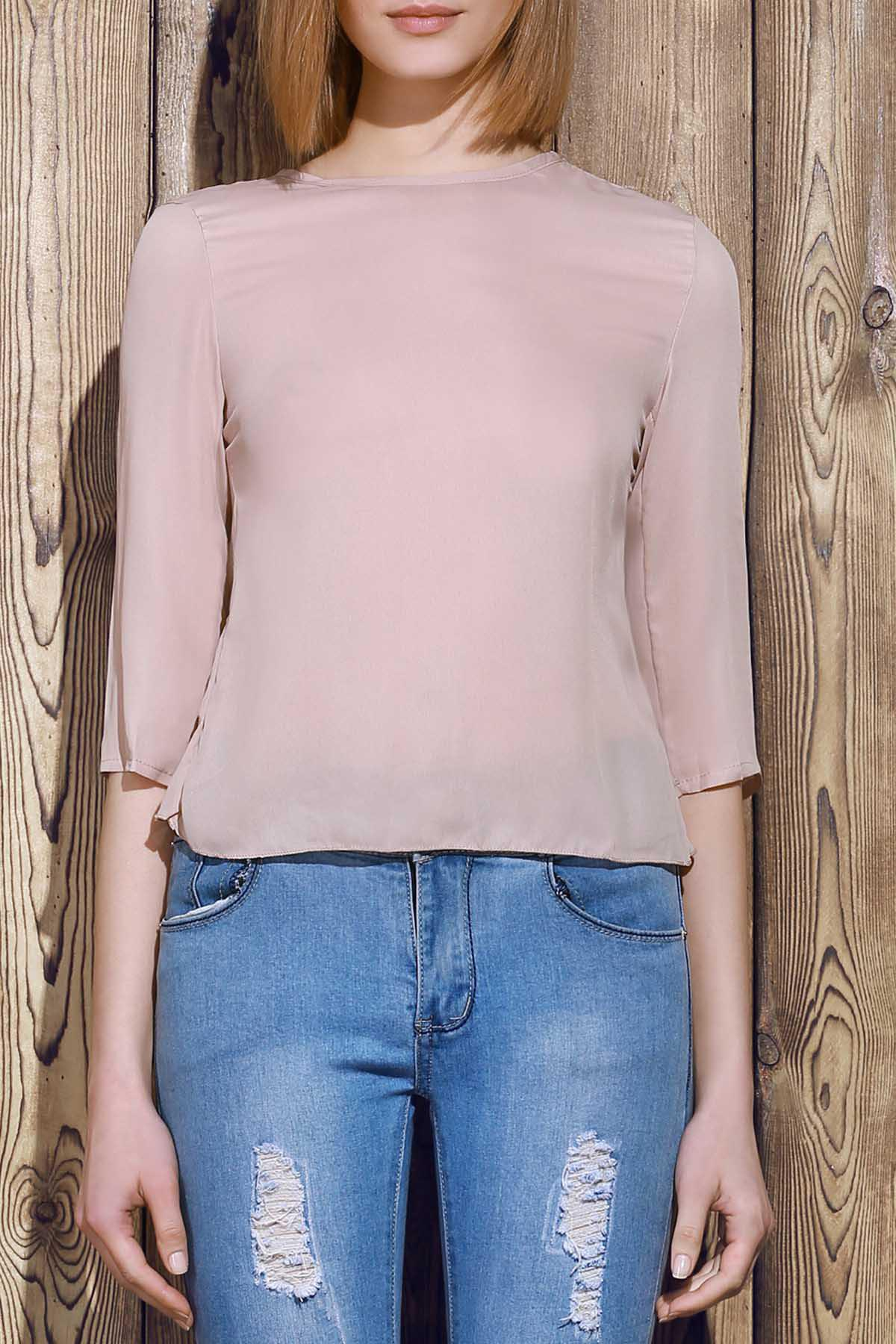 Women's Trendy 1/2 Sleeve Furcal Solid Color T-Shirt - AS THE PICTURE S