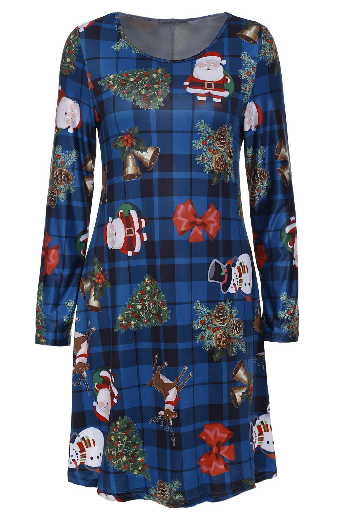 Long Sleeve Christmas Pattern Round Neck Dress For Women - S GREEN
