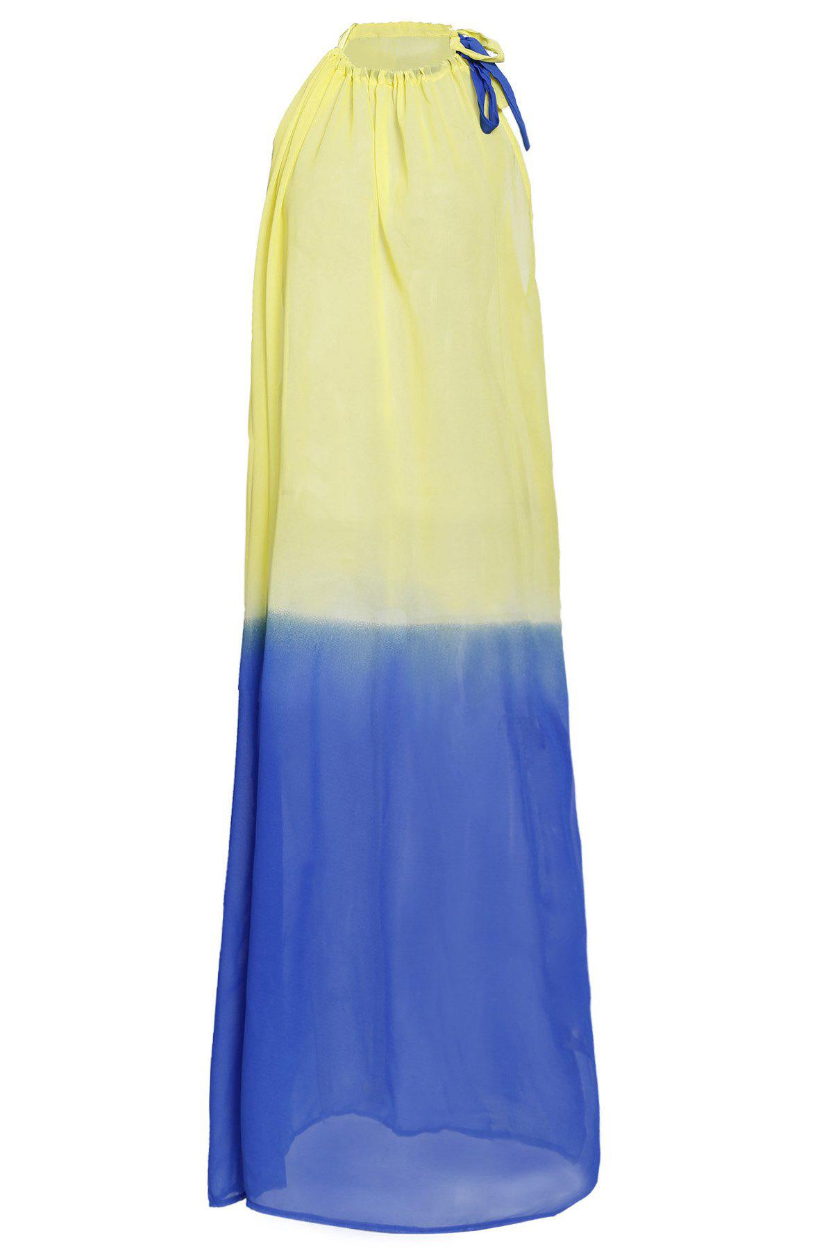 Refreshing Women's Round Collar Ombre Cover-Up - BLUE/YELLOW S