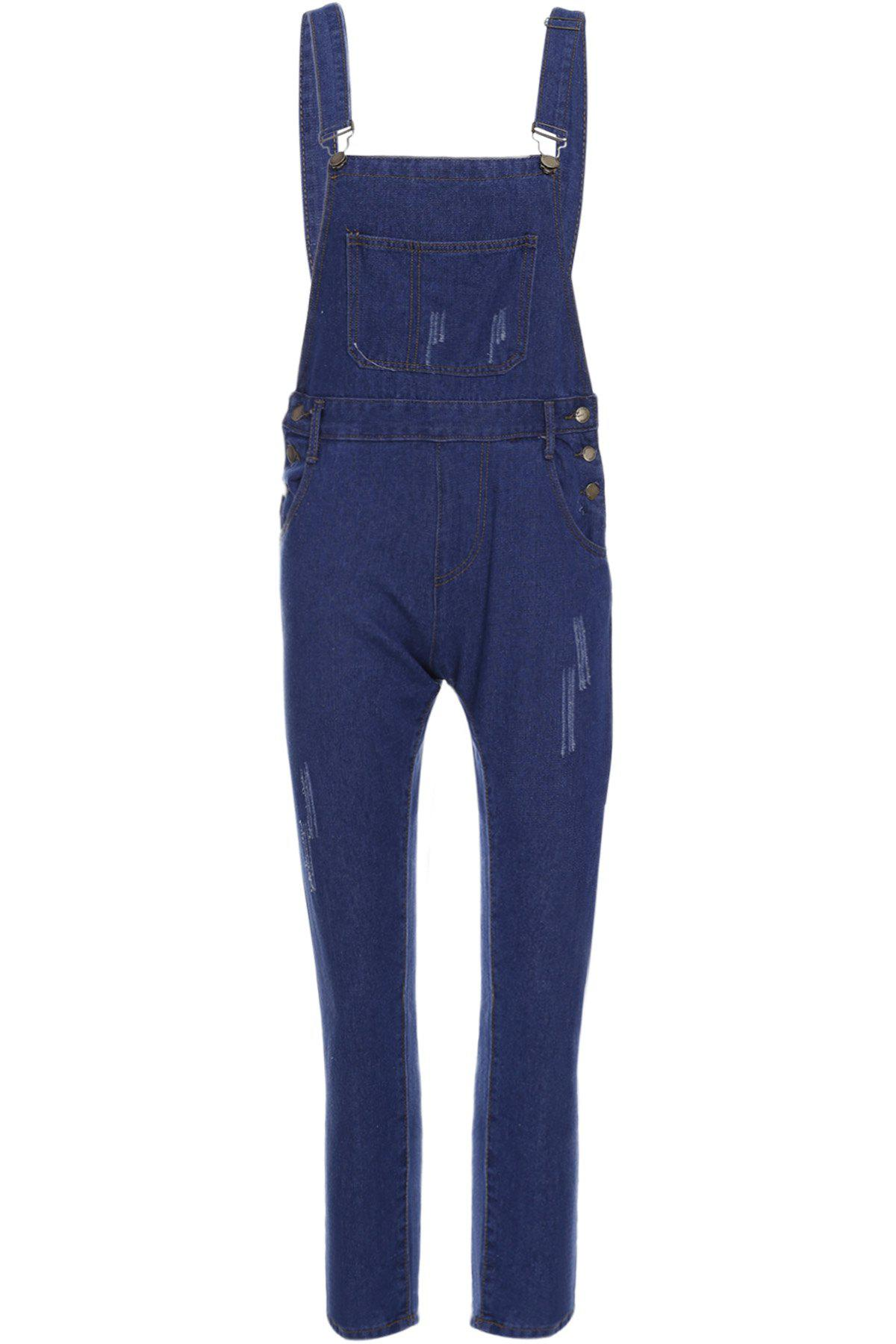Casual Style Solid Color Straight Leg Denim Overalls For Women