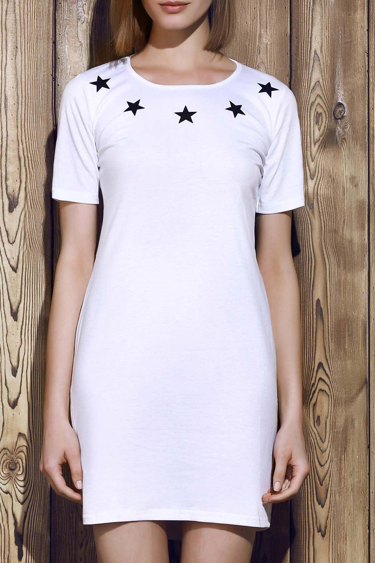 Round Neck Letter Pattern Hollow Out Short Sleeve Women's Dress - WHITE M