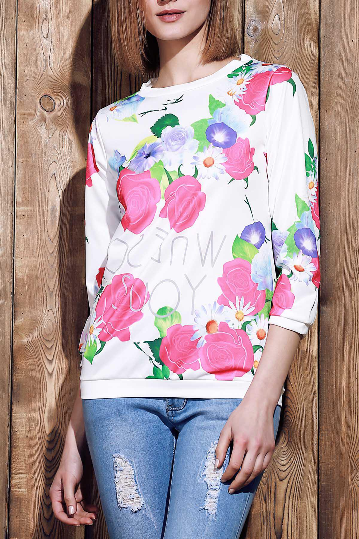 Endearing 3/4 Sleeve Various Colorful Floral Printed Sweatshirt For WomenWomen<br><br><br>Size: XL<br>Color: ROSE